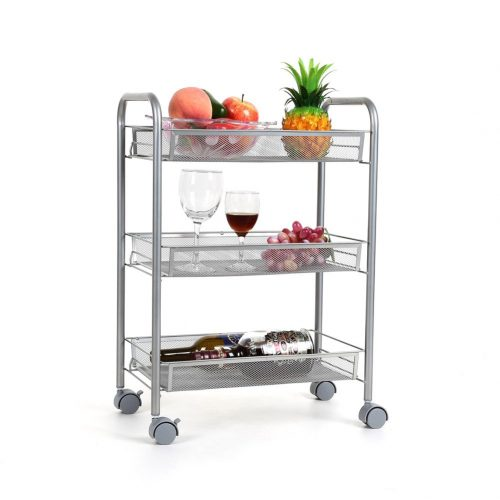 Homfa 3-Tier Mesh Wire Rolling Cart Multifunction Utility Cart Kitchen Storage Cart on Wheels, Steel Wire Basket Shelving Trolley, Easy Moving, Silver