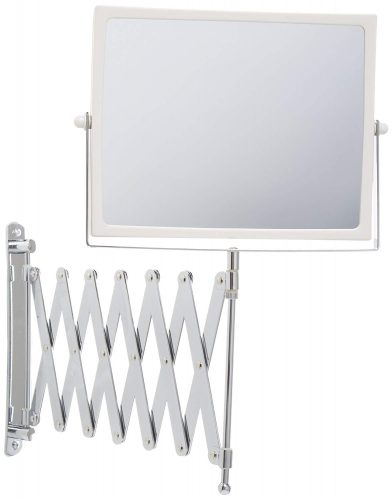 Jerdon J2020C 8.3-Inch Two-Sided Swivel Wall Mount Mirror with 5x Magnification, 30-Inch Extension, Chrome, and White Finish