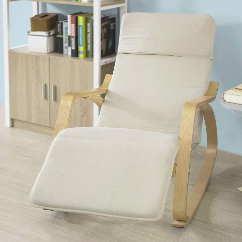 Haotian Comfortable Relax Rocking Chair with Foot Rest Design, Lounge Chair, Recliners Poly-Cotton Fabric Cushion, FST16-W, White Color