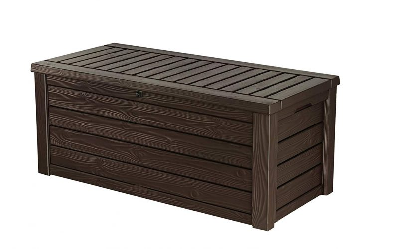 Keter Westwood Plastic Deck Storage Container Box Outdoor Patio Garden Furniture 150 Gal, Brown