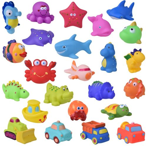 24 PCs Bath Toys for Toddlers, Sea Animals Squirter Toys Kids, Car Squirter Toys Boys, Bath Toy Organizer Included, Easter Basket Stuffers for Toddlers