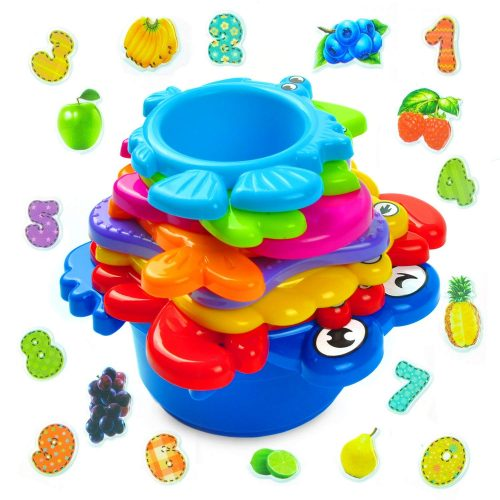 aGreatLife Stacking Cups Bath Toys for Toddlers: My First Under The Sea Animal Stacker with Holes for Sprinkling Water and Sifting Sand - Includes Fun and Brightly Colored Numbers and Fruits Stickers