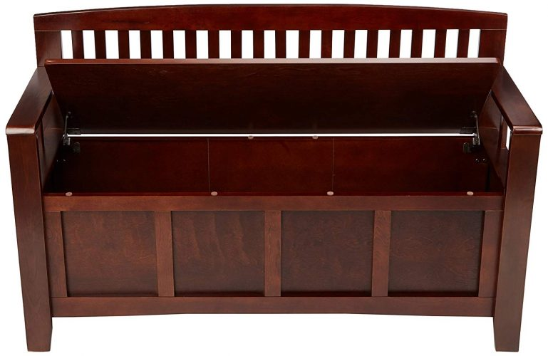 "Linon Home Dcor 83985WAL-01-KD-U Linon Home Decor Cynthia Storage Bench, 50"" w x 17.25"" dx 32"" h, Walnut"