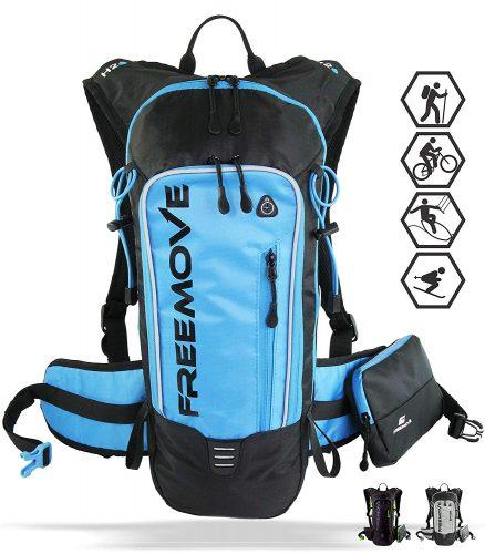 FREEMOVE Hydration Pack - Camel Backpack - 2 Liter Water Bladder - Cooler Bag - External Pocket   Lightweight, Fully Adjustable, Leakproof, 10L Hydration Backpack   Gear for Hiking, Cycling, Running