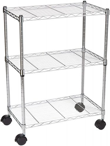 AmazonBasics 3-Shelf Shelving Unit on Wheels – Chrome