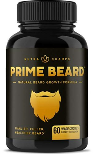 Prime Beard Beard Growth Vitamins Supplement for Men - Thicker, Fuller, Manlier Hair - Scientifically Designed Pills with Biotin, Collagen, Zinc & More! - for All Facial...