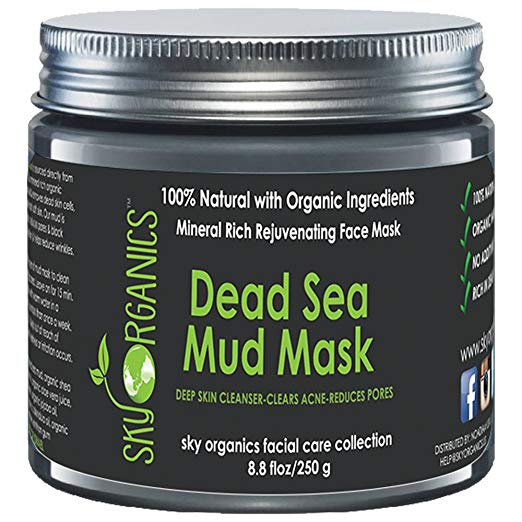 Dead Sea Mud Mask by Sky Organics For Face, Acne, Oily Skin & Blackheads - Best Facial Pore Minimizer, Reducer & Pores Cleanser Treatment - Natural & Organic Body Mud For Younger Looking Skin 8.8oz