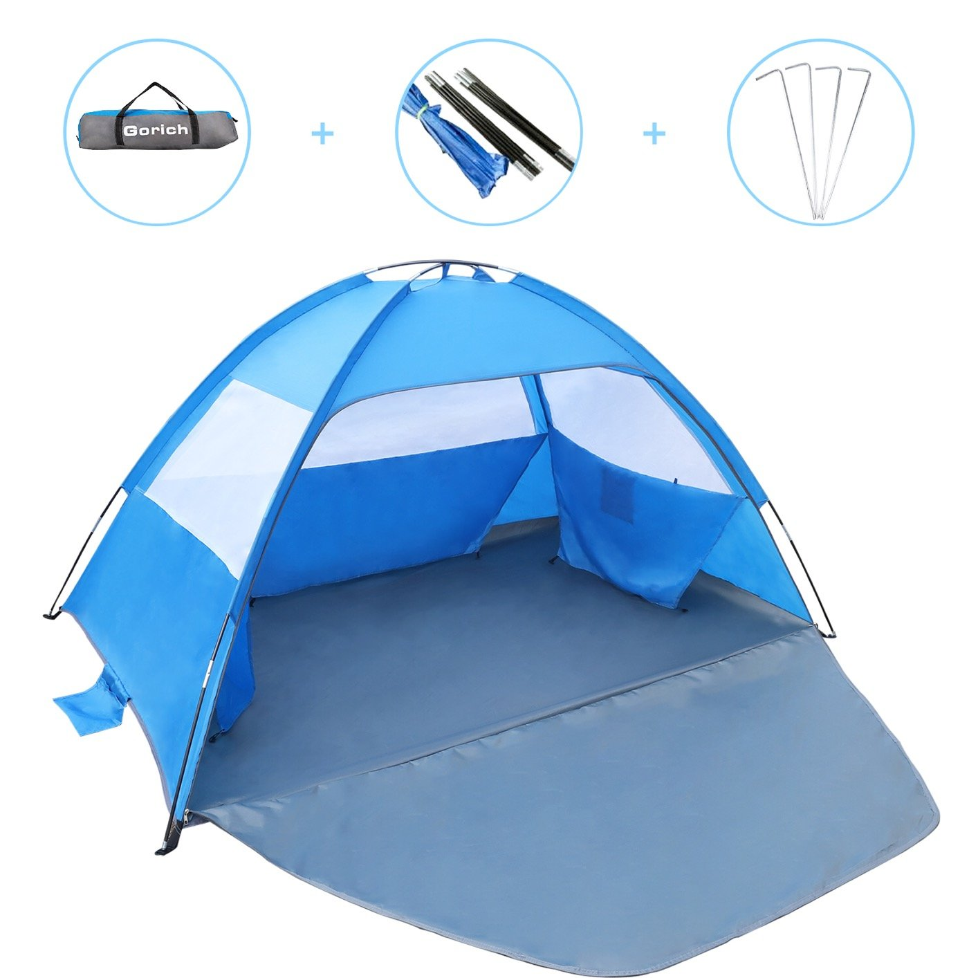 Gorich [2019 New] Beach Tent, UV Sun Shelter Lightweight Beach Sun Shade Canopy Cabana Beach Tents Fit 3-4 Person