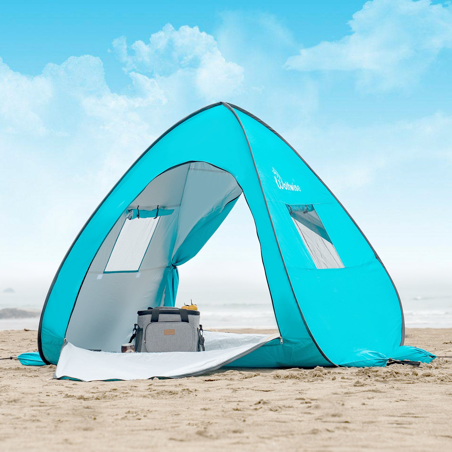 WolfWise UPF 50+ Easy Pop Up Beach Tent Sun Shelter Portable Baby Canopy Quick Instant Automatic Sport Umbrella Sun Shade