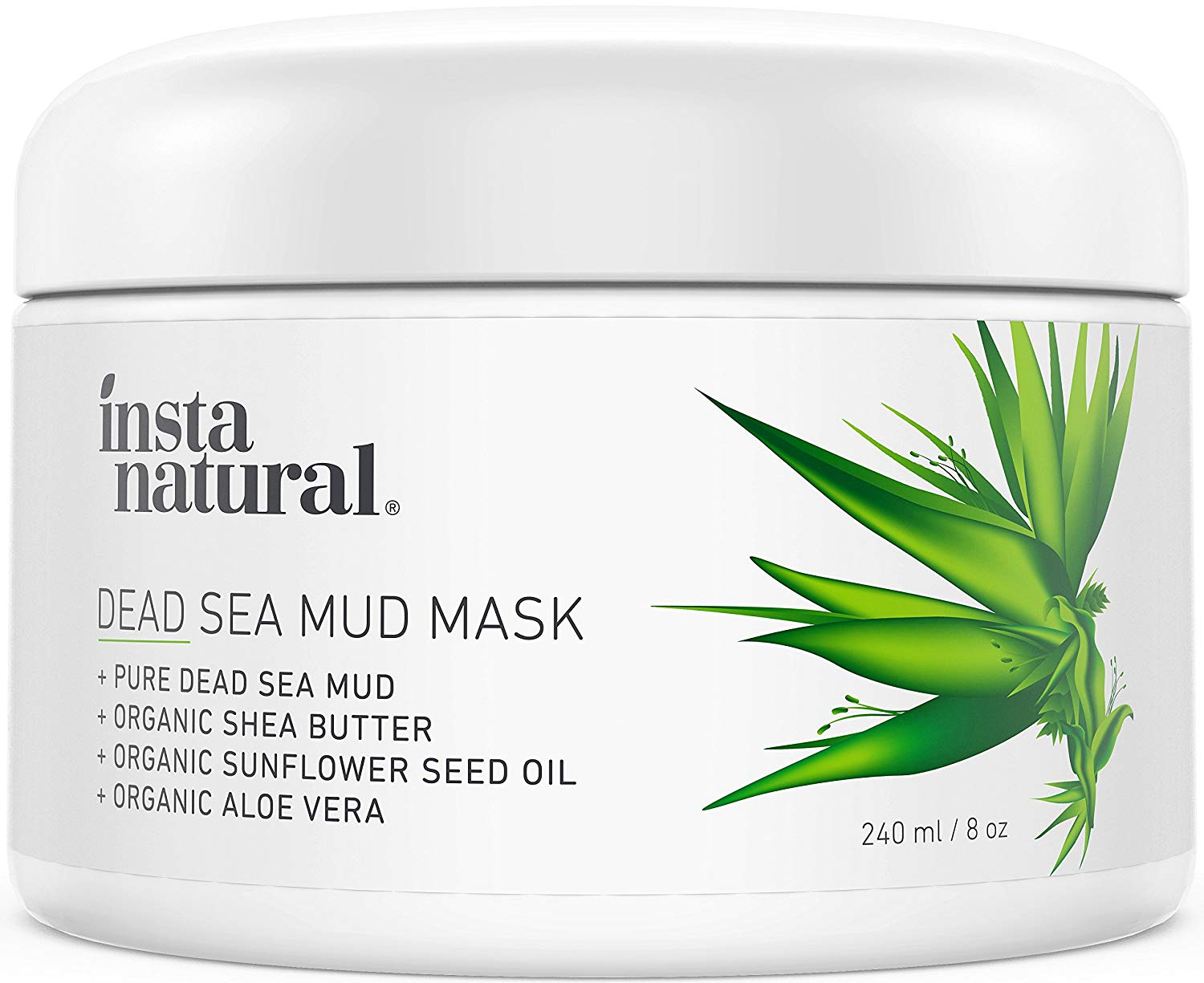 InstaNatural Dead Sea Mud Mask - Reduce Facial Pores - Organic for Oily & Acne Prone Skin, Blemishes & Complexion - Mineral Infused Fine Line Reducing Product with Shea Butter & Aloe Vera – 8 oz