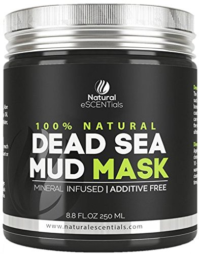 Dead Sea Mud Mask - Refreshing and Rejuvenating Pure Natural Facial Mask- Pore Minimizing and Cleanser - by Natural Essentials - 8.8oz
