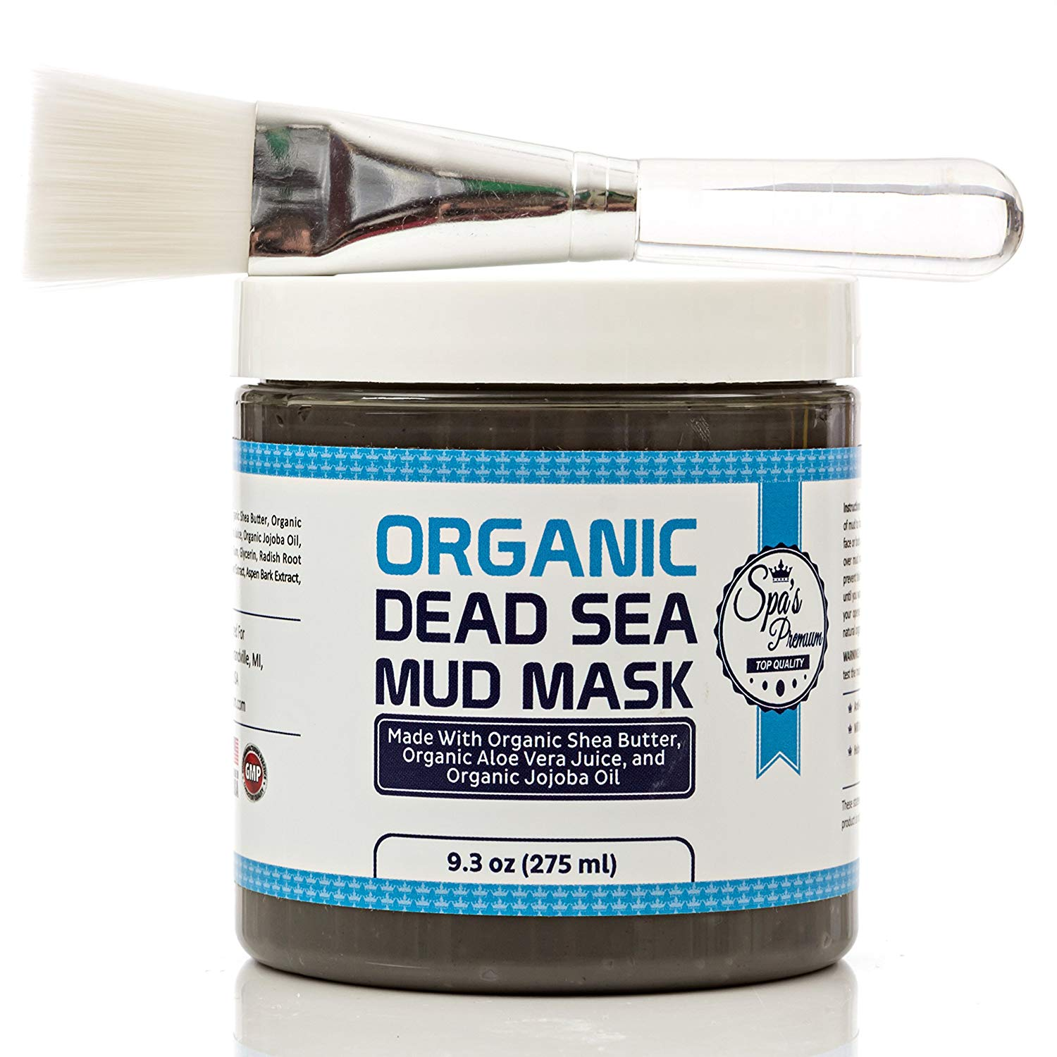 Dead Sea Mud Mask & Free Face Brush - HUGE Jar - Clears Acne - Anti-Aging - Exfoliate Skin - Moisturize - Aloe Vera Juice - Jojoba - Sunflower - Hickory Bark Extract - Calendula Oil - Shea Butter