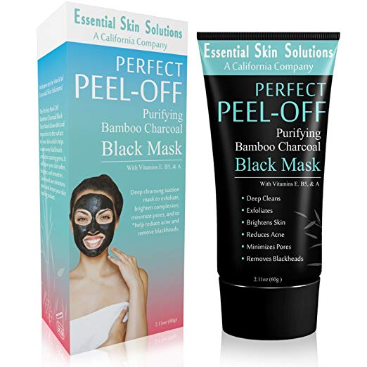 Black Charcoal Peel Off Mask for Face - Brightening Blackhead Remover - Exfoliating Facial Mask - Purifying Pore Minimizer - Bamboo Detox for Smooth Clear Skin - Helps Reduce Acne & Dark Spots
