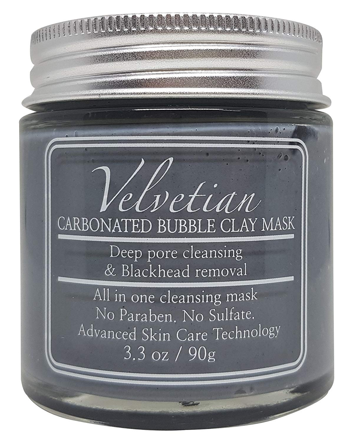 Velvetian Carbonated Bubble Clay Mask - Charcoal Facial Mask - Deep Pore Cleansing - Best for Fighting Acne, Shrinking Pore and Blackheads - 3.3oz