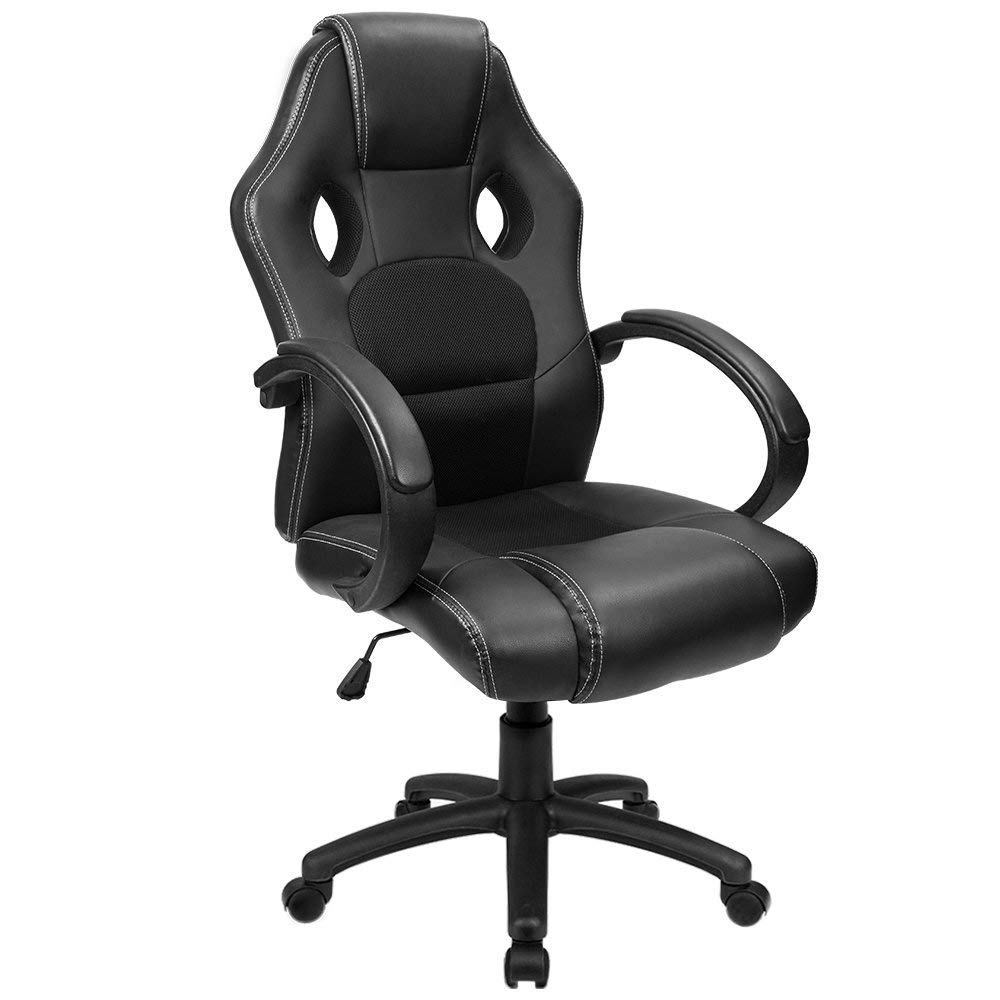 Furmax Office Chair Desk Leather Gaming Chair, High Back Ergonomic Adjustable Racing Chair, Task Swivel Executive Computer Chair Headrest and Lumbar Support (Black)