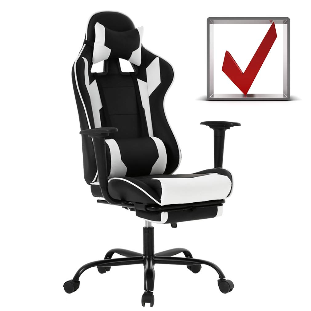BestMassage Gaming Chair Ergonomic Swivel Chair High Back Racing Chair, with Footrest, Lumbar Support, and Headrest