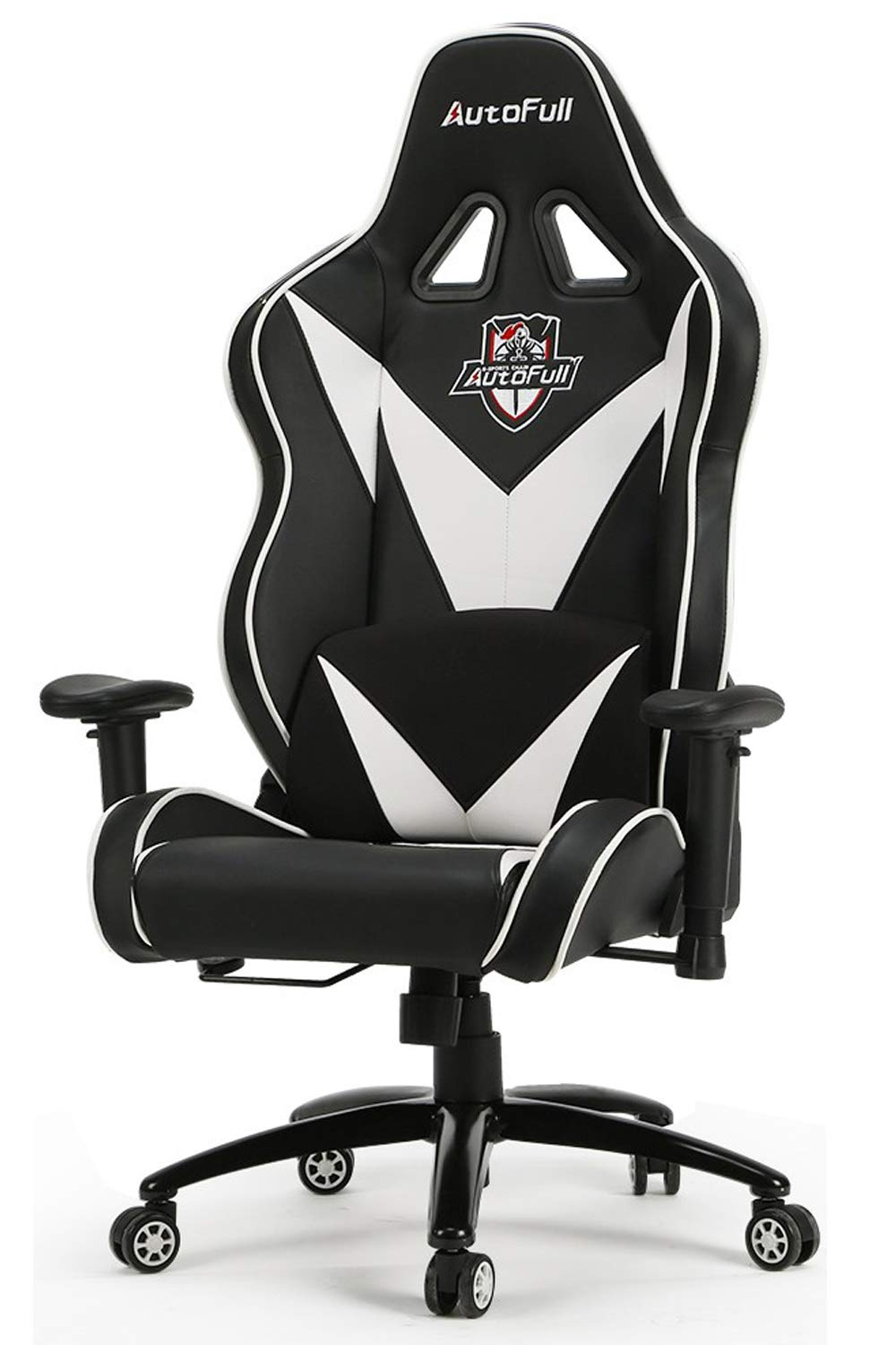 BestOffice Racing Style Ergonomic Rolling Swivel Adjustable Headrest Office Gaming Chair with Lumbar Support, White