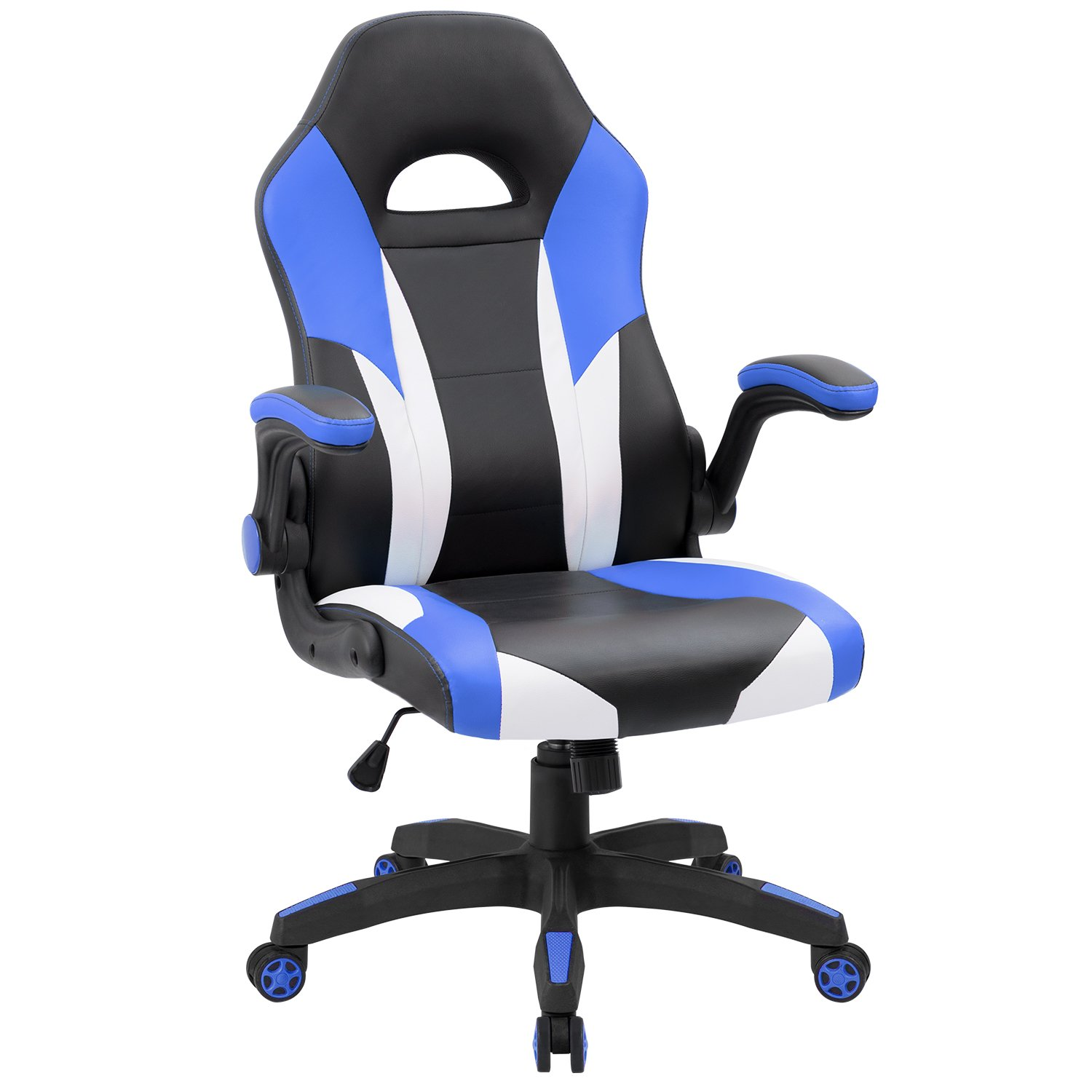 JUMMICO Gaming Chair Ergonomic Leather Racing Chair High Back Swivel Computer Chair with Flip-Up Armrest (Blue)