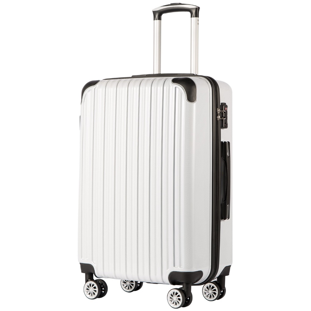 "COOLIFE Luggage Expandable (only 28"") Suitcase PC+ABS Spinner 20in 24in 28in Carry on (White Grid New, S(20in)_Carry on)"
