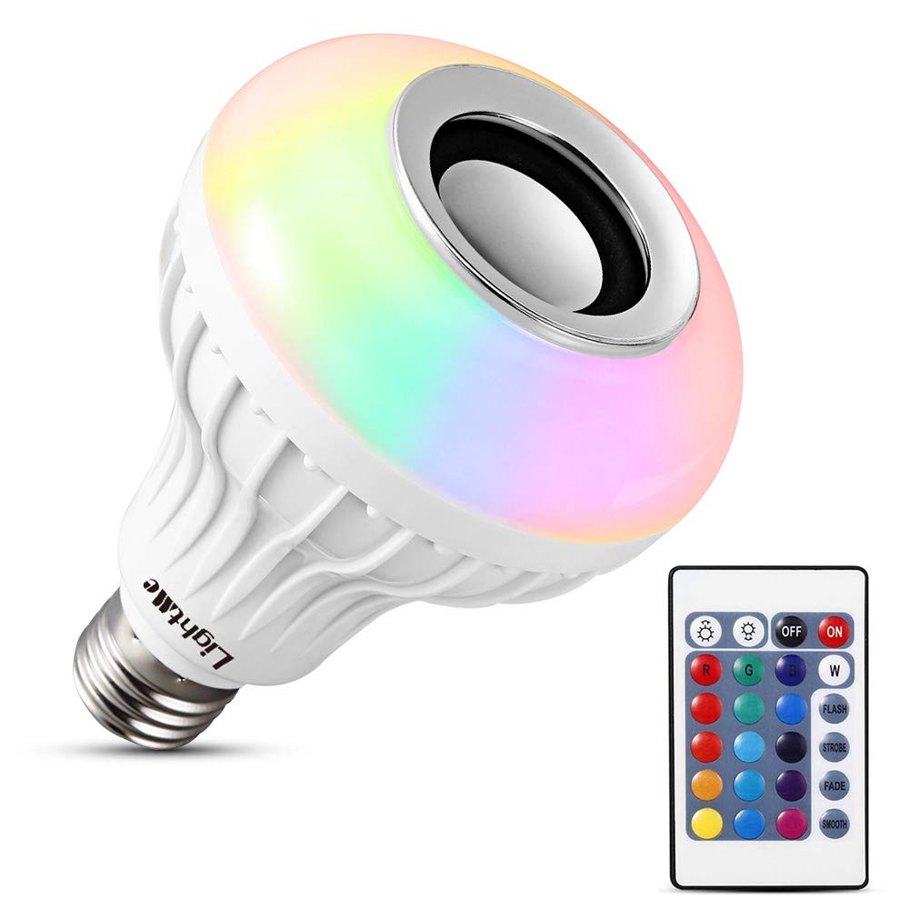 LightMe Intelligent E27 LED Light Bulb Bluetooth Speaker, White + RGB Light Ball Bulb Colorful Lamp Smart Music Bulb Audio Bluetooth 3.0 Speaker with 24 Keys Remote Control for Home, Stage (White-3)