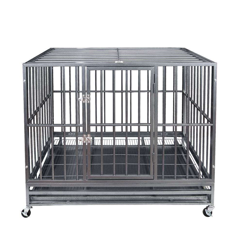 Heavy Duty Pet Dog Cage Strong Metal Crate Kennel Playpen w/Wheels&Tray