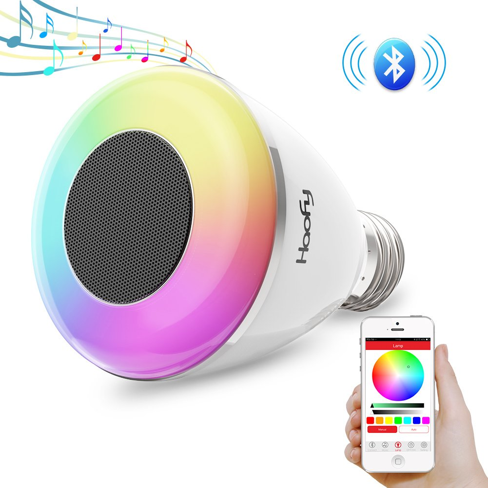 Haofy Bluetooth Speaker Light Bulb,RGB Dimmable LED Music Light Bluetooth 4.0 with Remote Conrtrol(E26/E27,APP Controlled,1 Pack)