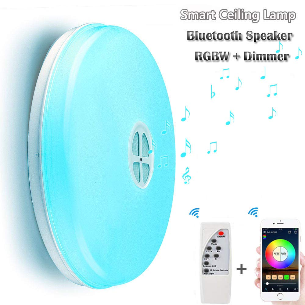 LED Ceiling Light with Bluetooth Speaker Music Sync RGBW Colour Changing 24W (APP+Remote Controller)