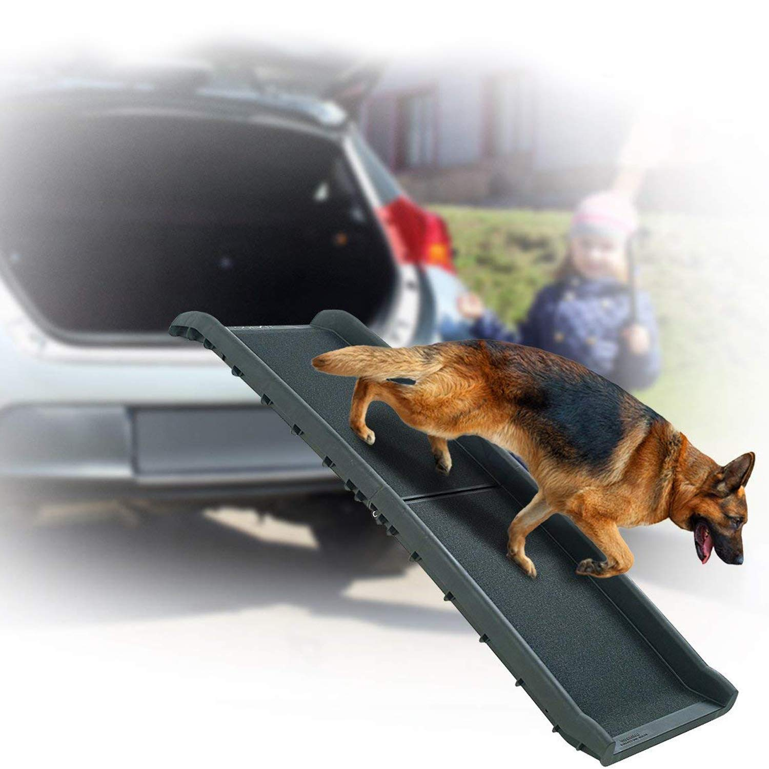 Perfect Life Ideas Dog Ramps for Large Dogs SUV - Bi Folding Pet Ramp That Supports up to 200 LBS - Indoor Outdoor Dog Car Ramp for Dogs