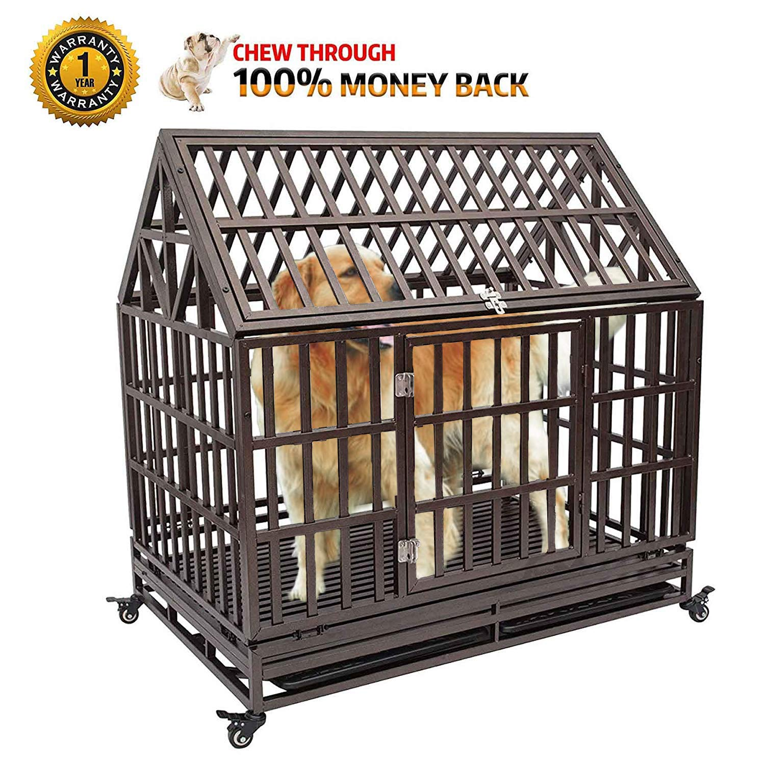 Haige Pet Your Pet Nanny Dog Crate Cage Kennel Playpen Heavy Duty Never Rust for Large Dogs with Patent Lock and Four Wheels