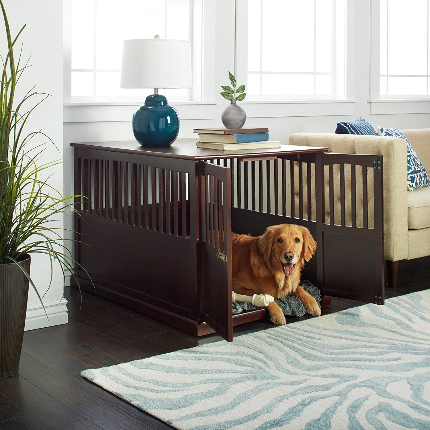 Wooden Furniture XL Pet Crate Espresso Solid Wood End Table Kennel Consule Décor