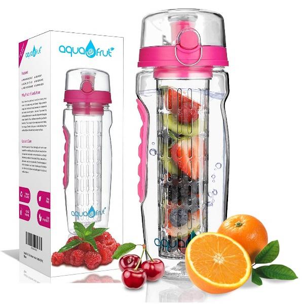 AquaFrut 32 OZ Fruit Infuser Water Bottle (Multiple Colors) BPA-Free Fruit Infusion Sports Bottle - Flip Top Lid w Drinking Spout, Leak Proof, Made of Durable Tritan