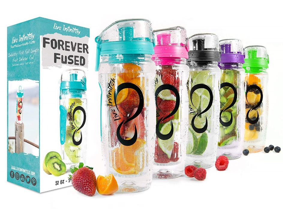 Live Infinitely 32 oz. Infuser Water Bottles - Featuring a Full-Length Infusion Rod, Flip Top Lid, Dual Hand Grips & Recipe Ebook Gift