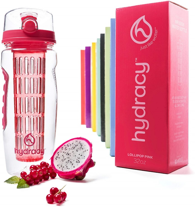 Hydracy Fruit Infuser Water Bottle -32 Oz Sports Bottle -Full-Length Infusion Rod, Time Mark & Insulating Sleeve Combo Set +27 Fruit Infused Water Recipes eBook Gift -Your Healthy Hydration Made Easy