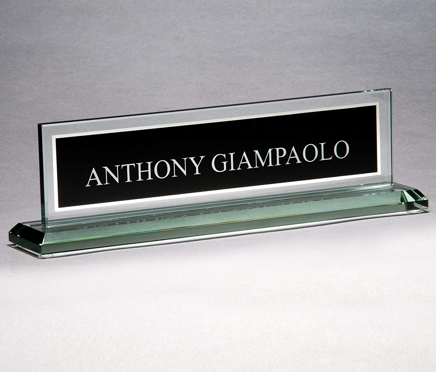 Black Glass Name Plate with Free Engraving