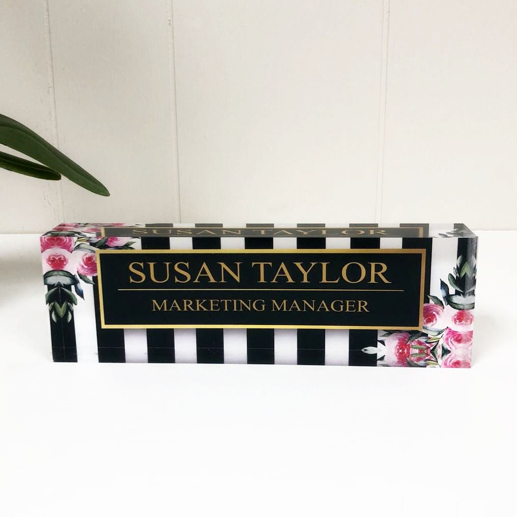 Desk Nameplate Personalized Name & Title, Stripes & Roses Printed on Premium Clear Acrylic Glass Block Custom Office Decor Desk Nameplate Unique Customized Desk Accessories Appreciation Gift