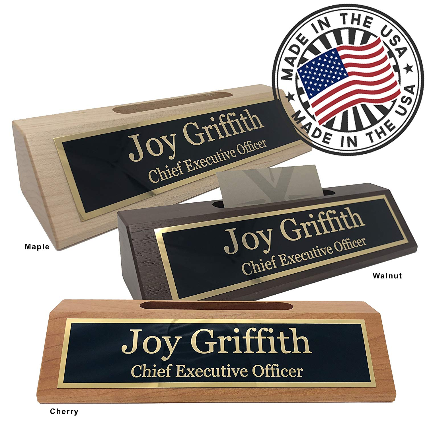 Personalized Business Desk Name Plate with Card Holder – Made in USA (Cherry Wood)