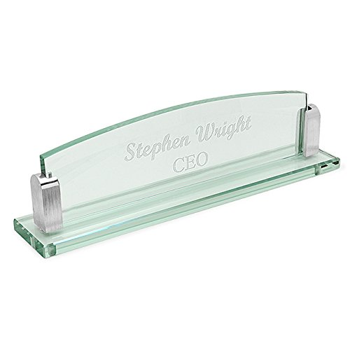 Executive Gift Shoppe | Personalized Glass Name Plate | Crystal Clear Desktop display | Free Custom Engraving | Perfect Business Gift | Great for Promotion, New job, Position | Two Silver Mounts
