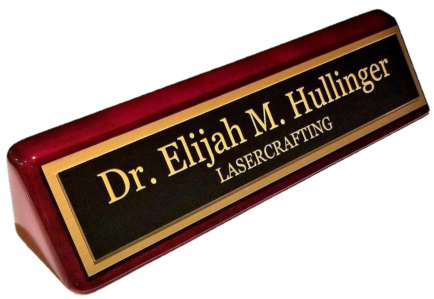 "Executive Nameplate Rosewood piano Finish Gold Plate 2"" x10"" –Customize"