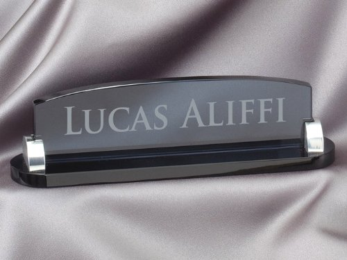 Smoked Glass Nameplate with Free Engraving