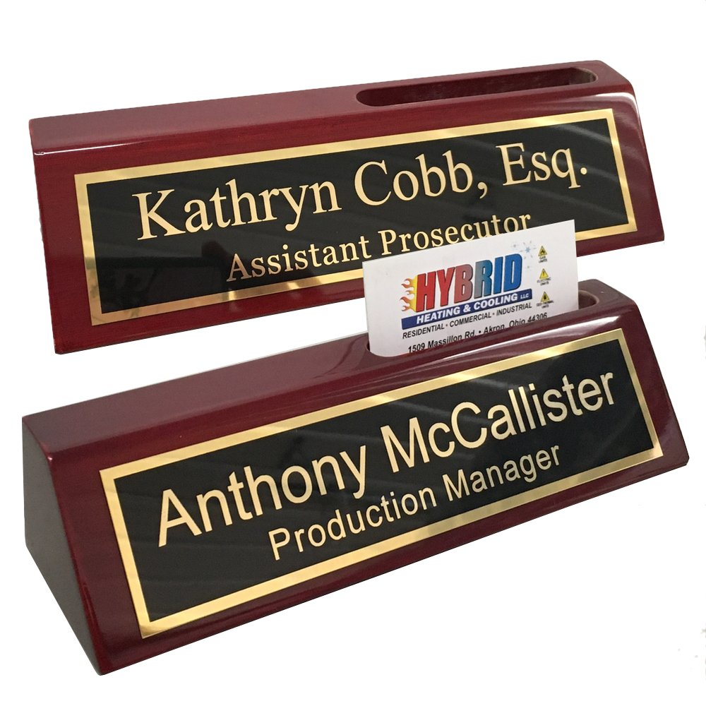 Personalized Business Desk Name Plate with Card Holder – Includes Engraving