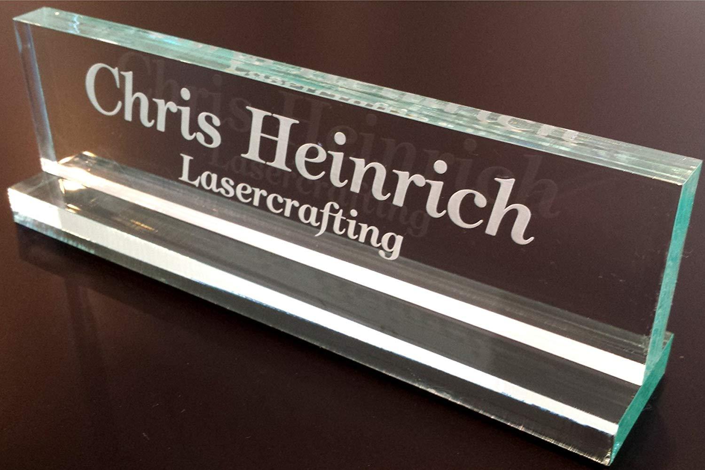 "Office Desk Nameplate 1/2"" glass-like acrylic personalized/customized"