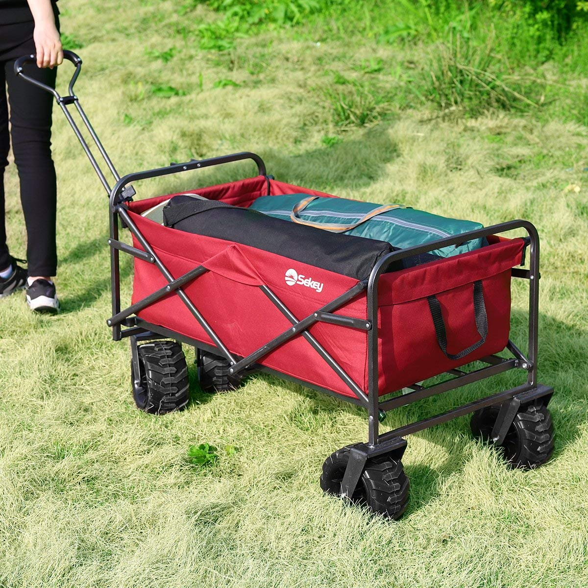 Sekey Folding Wagon Cart Collapsible Outdoor Utility Wagon Garden Shopping Cart  - beach trolley