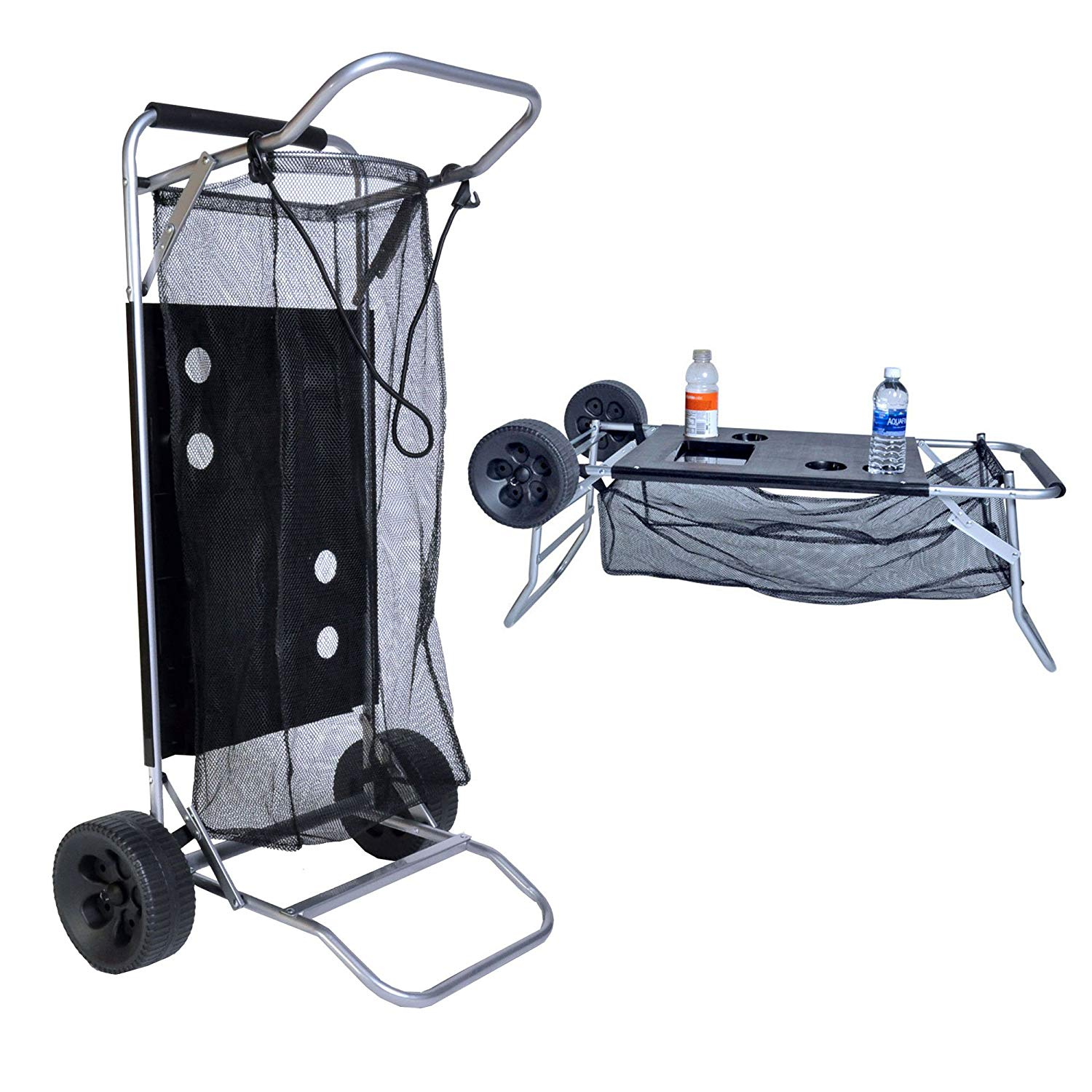 Beach Cart with Folding Table/Drink Holders - Grey Frame/Black Table