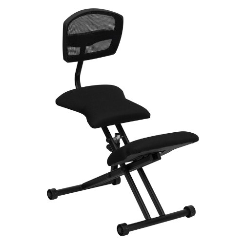 Offex Ergonomic Kneeling Chair with Black Mesh Back and Fabric Seat