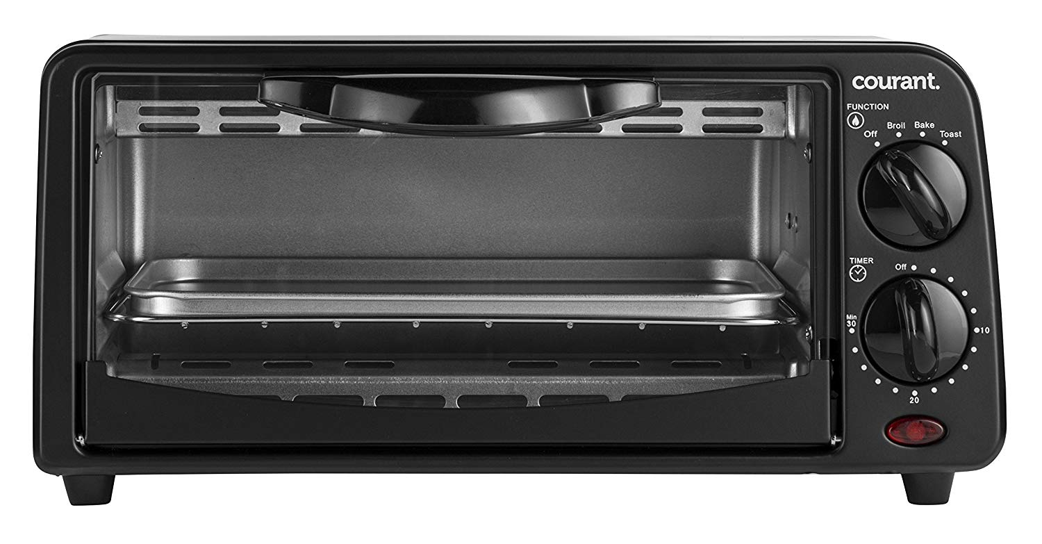 Courant TO-621K 2 Slice Compact Toaster Oven with Bake Tray and Toast Rack