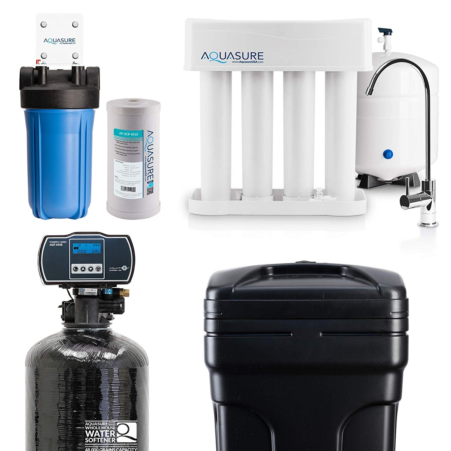 Aquasure Whole House Water Filtration Bundle w/Water Softener - Water Purifier