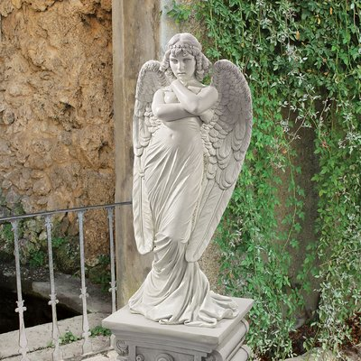 Design Toscano 1882 Monteverde Angel Statue, White - Garden Ornaments