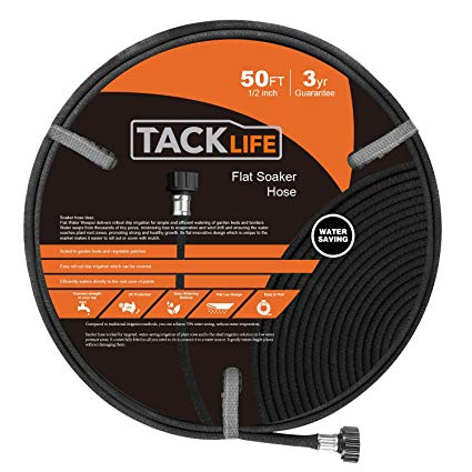 "TACKLIFE Soaker Hose, 15M(50FT) Porous Hose with 1/2""(12mm)"