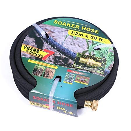 Taisia Soaker Hose 50 ft with 1/2'' Diameter - Bronze Interface Saves 70% Water