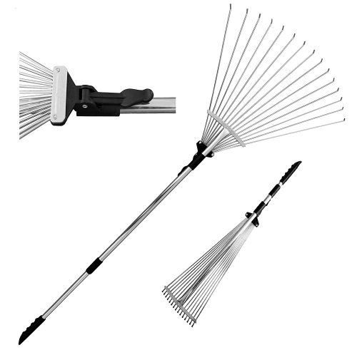 TABOR TOOLS Telescopic Metal Rake 63 Inch